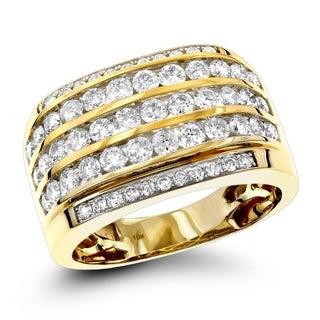 Luxurman 10k Gold Diamond Mens 2.25ct Unique Diamond Wedding Band (H-I; SI1-SI2)