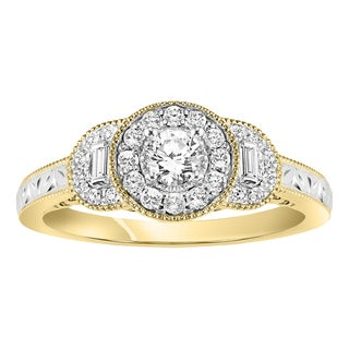 Cambridge 14k Two-tone Gold 3/ 8ct Diamond Triple Halo Floral Engagement Ring