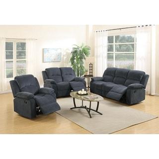 Linda Motion Grey Metal/Microfiber/Wood 3-piece Living Room Set