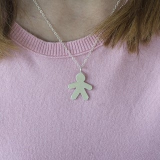 Twobirch 14k Gold Paper Boy Mother's Day Pendant Necklace