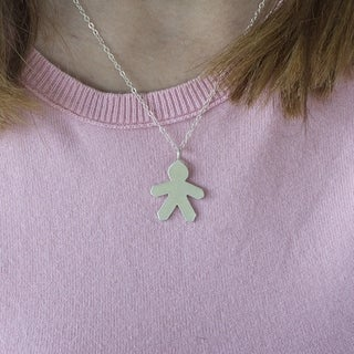 Sterling Silver Paper Boy Mother's Day Pendant