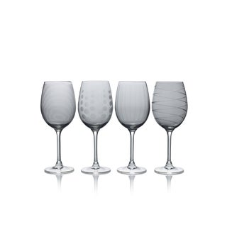 Mikasa Cheers Smoke 15.89 Oz White Wine Set Of 4 Stem Drinking Glass Boxed