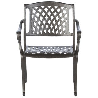 Westbury Black Cast Aluminum Stacking Dining Arm Chairs (Set of 4)