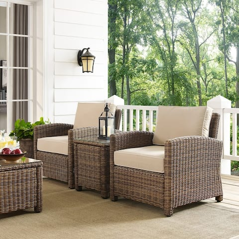 Bradenton Brown Wicker Sand Cushions Outdoor Conversation Set (Set of 3)