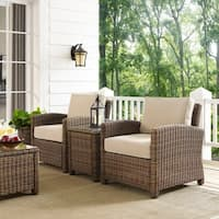 Bradenton Brown Wicker Sand Cushions Outdoor Conversation Set (Set of 3)
