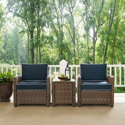 Bradenton Navy Cushions Wicker Outdoor Conversation Set