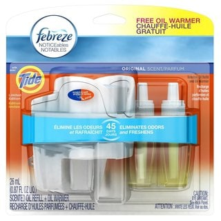 Febreze Noticeables Original Scent with Tide Dual Scented Oil Refill Warmer
