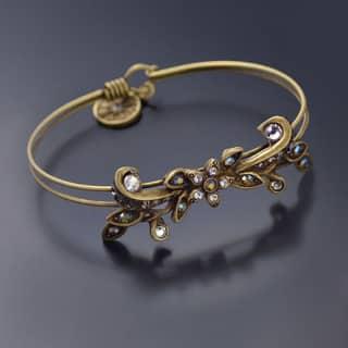 Sweet Romance Vintage Flower Caroline Wedding Bangle Bracelet - Silver|https://ak1.ostkcdn.com/images/products/15220214/P21695730.jpg?impolicy=medium