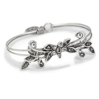 Sweet Romance Vintage Flower Caroline Wedding Bangle Bracelet - Silver