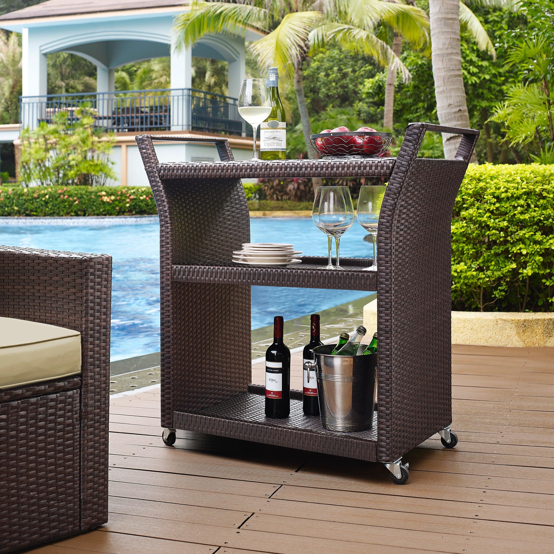 Crosley Furniture Palm Harbor Wicker Outdoor Bar Cart (Pa...