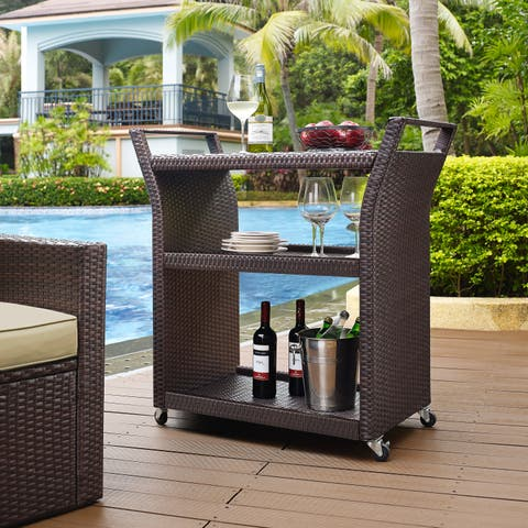 Palm Harbor Wicker Outdoor Bar Cart