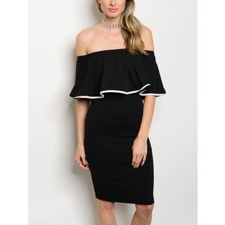 JED Women's Bodycon Ruffled Off Shoulder Little Black Dress