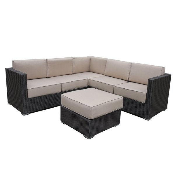 shop abba patio 4 pcs all weather outdoor wicker sofa sectional set
