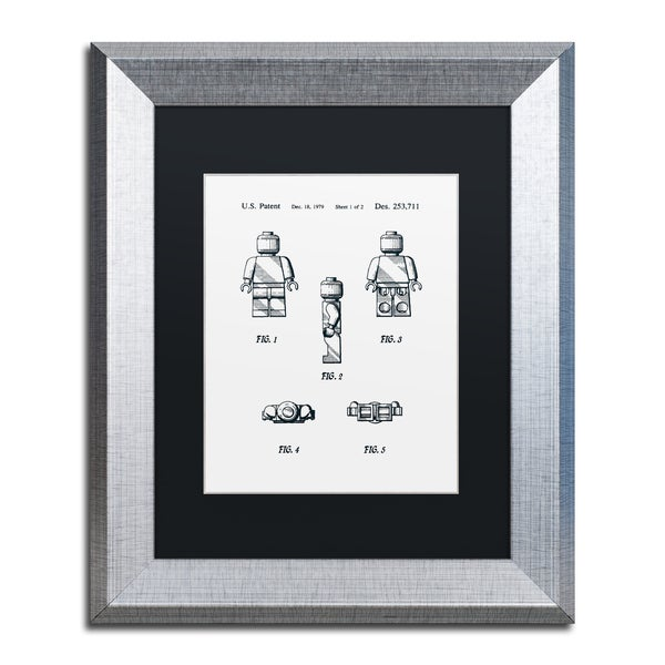 Claire Doherty 'Lego Man Patent 1979 Page 1 White' Matted Framed Art