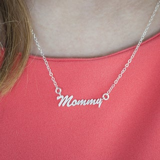 Sterling Silver Small Mommy Name Plate Mother's Day Pendant