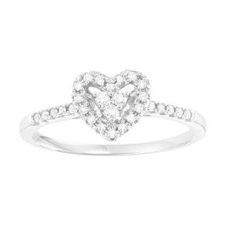 Cambridge 10k White Gold 1/6ct TDW Heart Engagement Ring