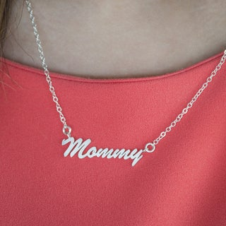 Twobirch Sterling Silver Medium 'Mommy' Name Plate Pendant (3 options available)