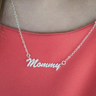 TwoBirch Sterling Silver Medium 'Mommy' Name Plate Pendant