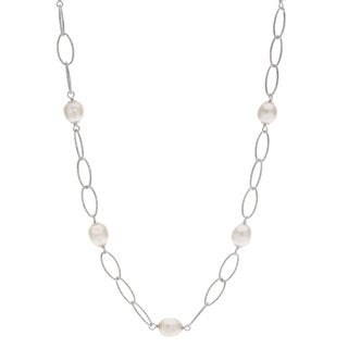 Pearls For You Sterling Silver White Freshwater Pearl 8.5- to 9-millimeter Textured Oval Link Station Necklace