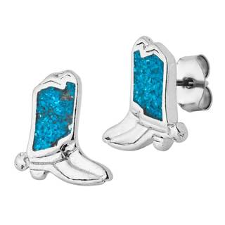 Southwest Moon Silvertone Turquoise Inlay Cowboy Boot Stud Earring - Silver