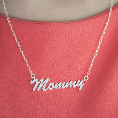 10k Gold Large Mommy Name Plate Mother's Day Pendant