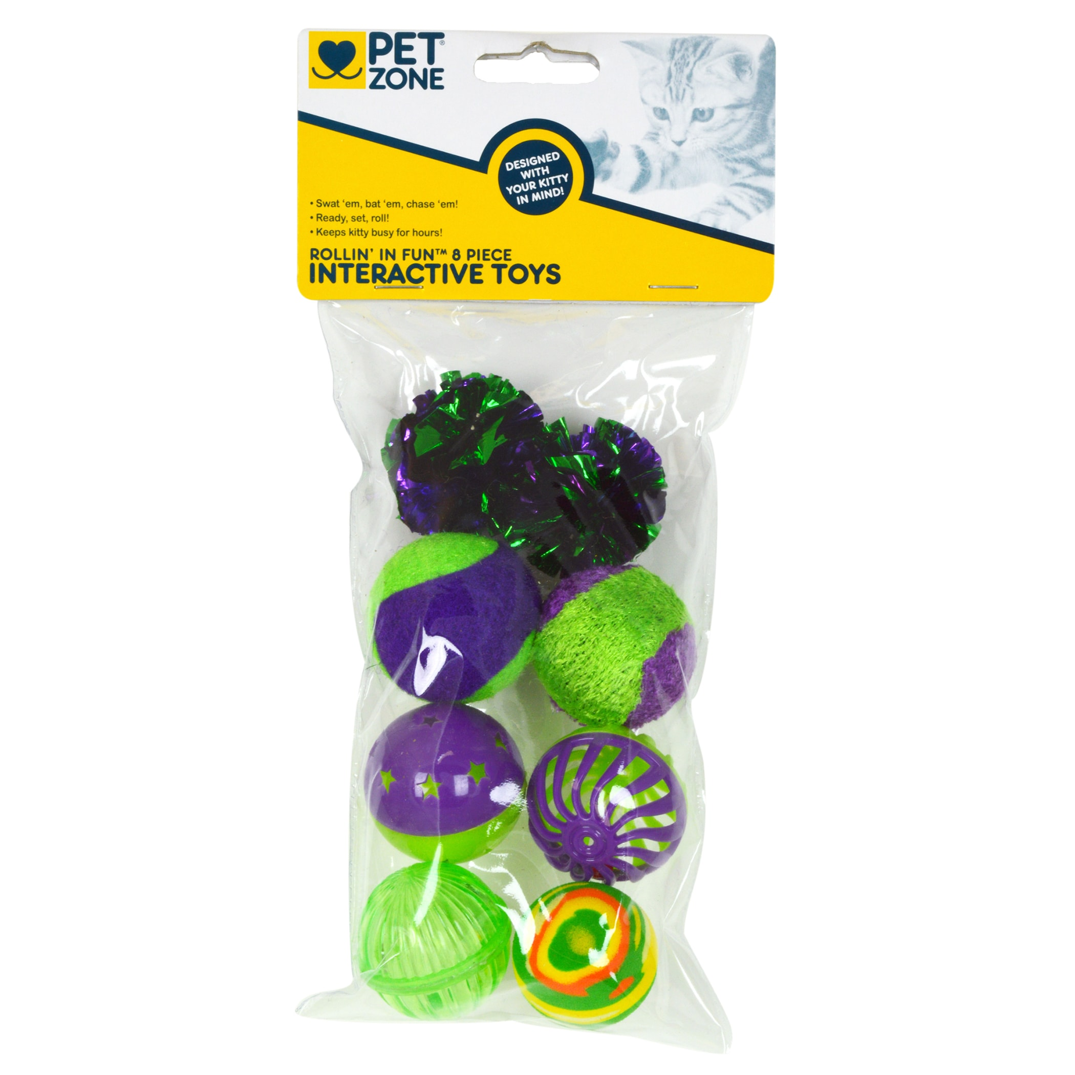 Pet Zone Rollin' In Fun Interactive Cat Toys 8 Piece Set ...