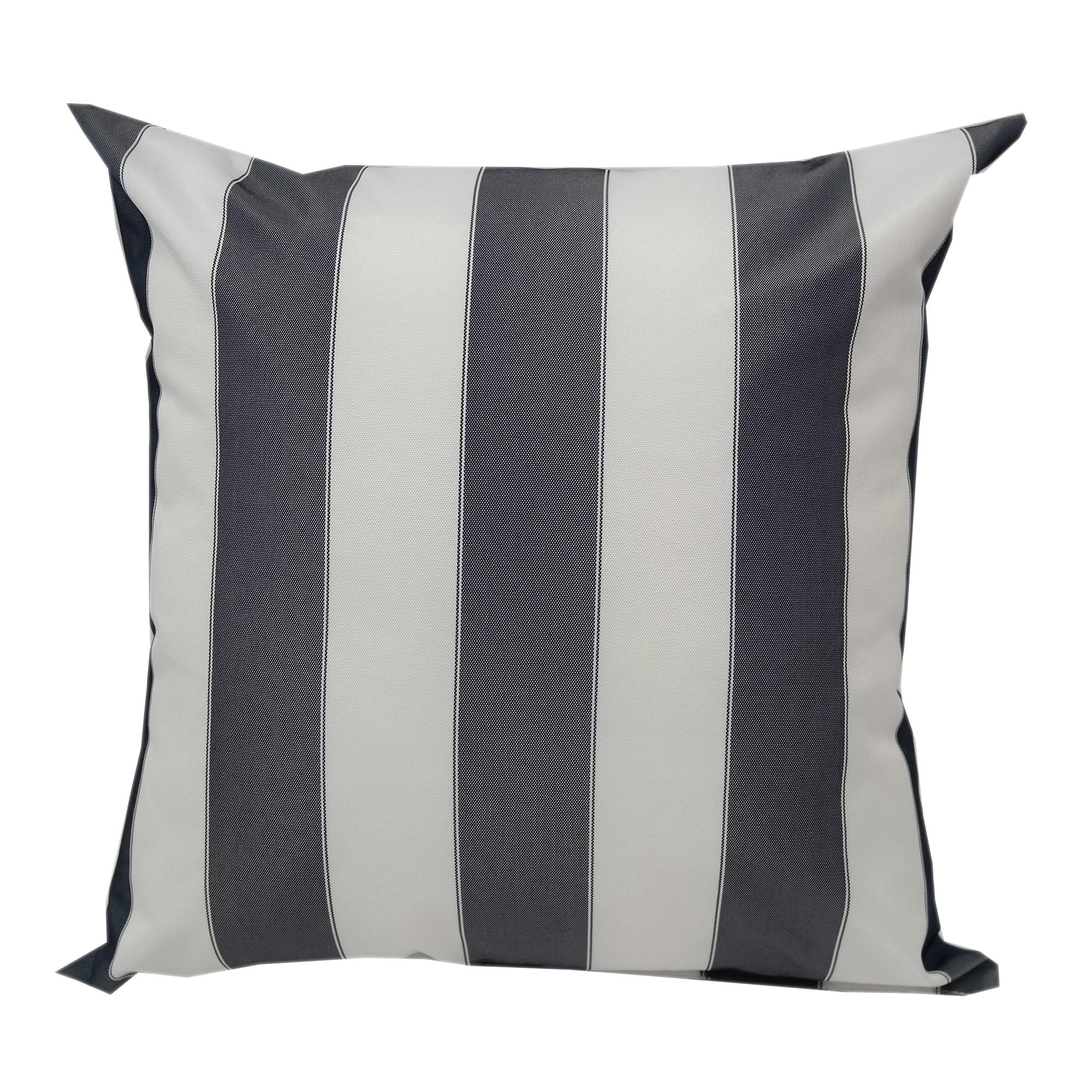 White Striped Outdoor Throw Pillow