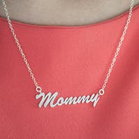 Twobirch Sterling Silver Large Mommy Name Plate Mother's Day Pendant