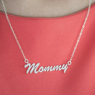 Twobirch Sterling Silver Large Mommy Name Plate Mother's Day Pendant (Option: Rose)