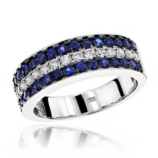 Luxurman Unique 3 Row Sapphire Diamond Wedding Band 1.35ct 10K Gold