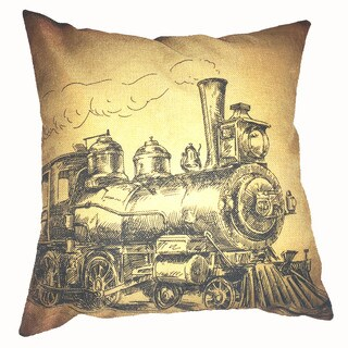 Lillowz Retro Train Engine Canvas 17 inch Throw Pillow