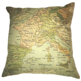 Lillowz Europe Map Retro Canvas 17 inch x 17 inch Full Sized Throw Pillow