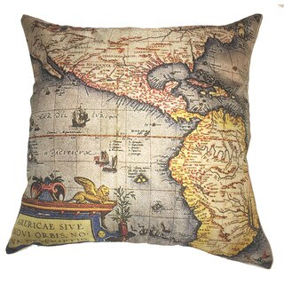 Lillowz USA Map Retro Canvas 17 inch x 17 inch Full Sized Throw Pillow