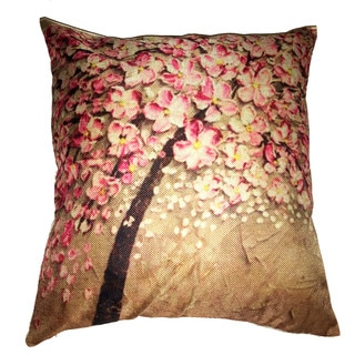 Lillowz Pink Tree Canvas 17-inch Throw Pillow