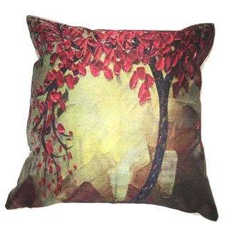 Lillowz Red Tree Canvas 17 inch Throw Pillow