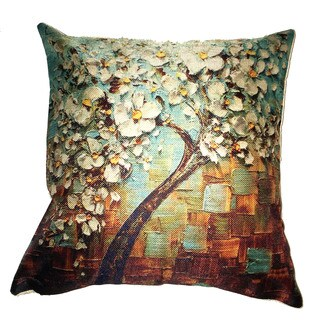 Lillowz White Tree Teal Background Canvas 17 inch Throw Pillow