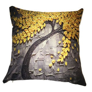 Lillowz Yellow Tree Canvas 17 inch Throw Pillow