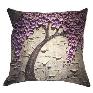 Lillowz Purple Tree Canvas 17 inch Throw Pillow