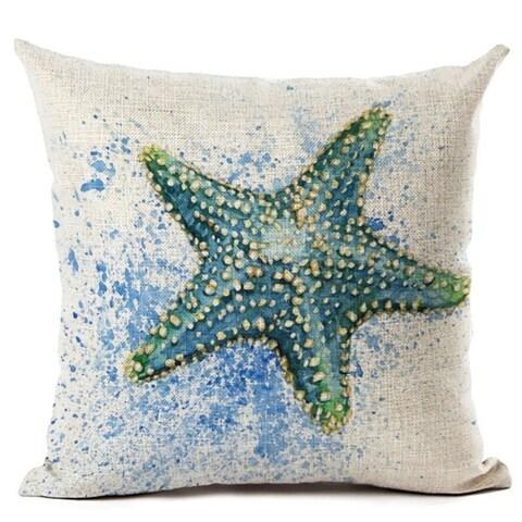 Lillowz Blue Starfish Beach Canvas 17 inch Throw Pillow