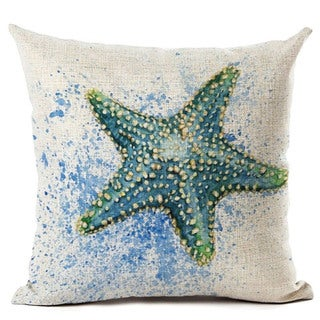 Lillowz Blue Starfish Beach Canvas 17 inch Throw Pillow