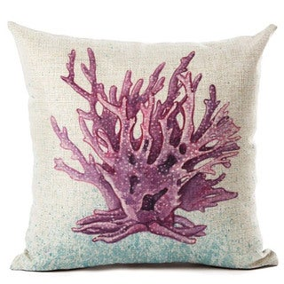 Lillowz Purple Coral Beach 17 inch x 17 inch Full Sized Throw Pillow