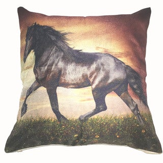 Lillowz Black Stallion Canvas 17 inch x 17 inch Full Sized Throw Pillow