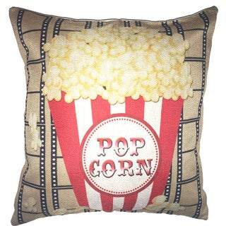 Lillowz Popcorn Bucket Theater Canvas 17 inch x 17 inch Full Sized Throw Pillow