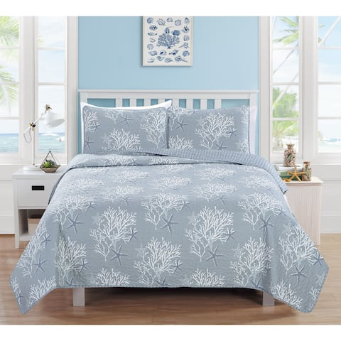 Home Fashion Designs Fenwick Collection 3-Piece Pearl Blue Coastal Theme Quilt Set