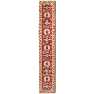 Herat Oriental Afghan Hand-knotted Vegetable Dye Kazak Wool Runner (2'9 x 15'10)