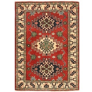 Herat Oriental Afghan Hand-knotted Vegetable Dye Kazak Wool Rug (2'8 x 3'10)