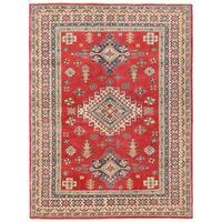 Handmade Herat Oriental Afghan Vegetable Dye Kazak Wool Rug - 5'5 x 7'3 (Afghanistan)
