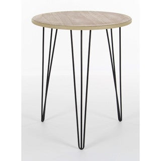 Benzara Brown Wood and Metal Round Accent Table