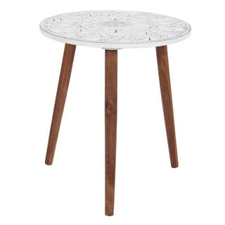 Benzara White/Brown Wood Carved Tripod Accent Table