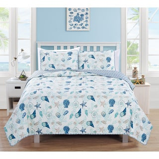 Home Fashion Designs Bali Collection 3-Piece Coral Coastal Quilt Set